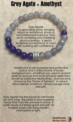 Grey Agate is a grounding stone, bringing about an emotional, physical and intellectual balance. They aid in centering and stabilizing physical energy.  It gently facilitates acceptance of one's self, building self-confidence.  CHALLENGES: Grey Agate + Amethyst Yoga Mala Bead Bracelet