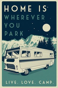 """this is 100% original artwork vintage retro camping silk screen print poster live love camp camper night sky - etsy  hand screen printed 2 color design.  ARTWORK SIZE IS 12""""X18""""  PRINTED ON VANILLA HEAVY COLD PRESSED ARTBOARD (VERY THICK)  limited run of 50  available on etsy $19.99"""