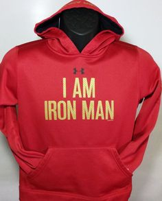 Under Armour I Am Iron Man Marvel Comics Youth Size Medium Hoodie #UnderArmour #Everyday