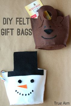 DIY felt snowman and reindeer gift bags. Easy template to help. Just cut it out and glue it together.