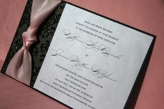 Pink and Black Wedding Invitation All Tied Up by trendytreasure, $3.50