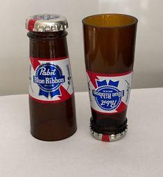 Groomsmen Gift. Beer Bottle Shot Glasses. Man Cave. Pabst Blue