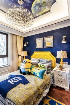 Love the accent wall and upholstered headboard