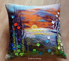 Unique flower sunset pillow cover 16x16 by Indrasideas on Etsy. Inspiring!