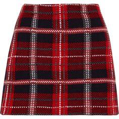 Miu Miu Tartan wool-tweed mini skirt ($450) ❤ liked on Polyvore featuring skirts, mini skirts, bottoms, saias, miu miu, red, tartan skirt, short skirts, plaid mini skirt and red skirt