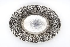 Yogya 800 Silver Oval Candy Bowl 141 Grams - Oriental Art Deco Silver - 1930s Collectible - Lotus Floral Design - Antique Silverwork - 日惹銀 at VintageArtAndCraft
