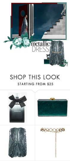 """metallic dress 2"" by izoche ❤ liked on Polyvore featuring Torrid, Edie Parker, Elie Saab, Topshop, Gucci, contestentry and metallicdress"