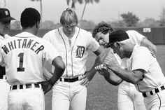 Sparky Anderson teaching baserunning with Kirk Gibson, Lou Whitaker, and Steve Kemp at spring training in Detroit Sports, Detroit Tigers Baseball, Detroit News, Detroit Michigan, Nfl Sports, Pittsburgh Steelers, Dallas Cowboys, Sparky Anderson