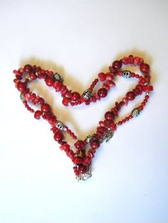 Red Coral Necklace by ElizabellaDesign on Etsy, $25.00