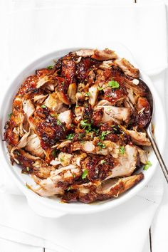 A little spicy. Mad delicious — These slow cooker turkey thighs are shockingly good. Slow Cook Turkey, Bbq Turkey, Cooking Turkey, Slow Cooking, Slow Cooker Recipes, Crockpot Recipes, Healthy Recipes, Turkey Thighs, Turkey Legs
