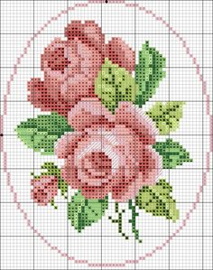Cross Stitch Rose, Cross Stitch Flowers, Cross Stitch Patterns, Wool Embroidery, Hand Embroidery Designs, Graph Paper Art, Small Rose, Rose Bouquet, Needlepoint