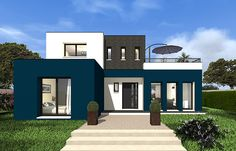 This modern house with cubic volumes offers a living area of . Modern Small House Design, Contemporary House Plans, Modern House Plans, Pintura Exterior, Home Design Plans, House Front, Building Design, Exterior Design, Modern Architecture