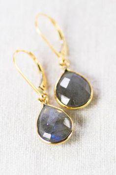 Keha earrings gold labradorite teardrop earrings