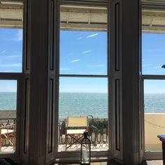 The gorgeous floor to ceiling windows framing the sea view at the French style apartment St Leonard's on Sea near Hastings - summer 2016