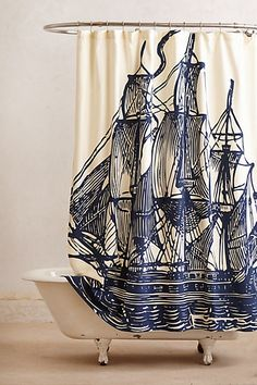 Elizabethan Sails Shower Curtain at Anthropologie $148!