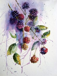 Watercolour Florals: More Daniel Smith Colours Aquarell Blumen: Mehr Daniel Smith Farben Watercolor Fruit, Watercolor And Ink, Watercolour Painting, Watercolor Flowers, Painting & Drawing, Watercolors, Purple Painting, Watercolor Artists, Art Floral