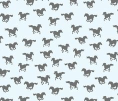 Horses a Galloping - Grey and Blue fabric by papersparrow on Spoonflower - custom fabric