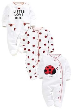 Buy Love Bug Sleepsuits Three Pack (0mths-2yrs) from the Next UK online shop