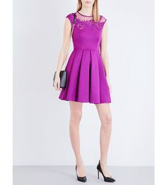 TED BAKER Lace-insert woven dress