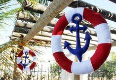 decoraciones exteriores estilo marinero Nautical Wreath, Nautical Party, Nautical Wedding, Vintage Nautical, Cruise Theme Parties, Anchor Party, Sailor Party, Sailor Birthday, Baby Boy Shower