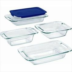Pyrex Easy Grab 5 Piece Set Includes 3 Quart Oblong With Blueplastic Cover 2 8 Inch Square Loaf Dish