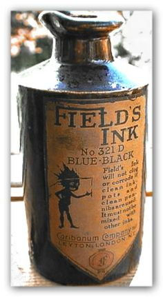 Small master ink bottle from GB with a great label with their trademark 'Inky' of the time. 4.5 inches tall salt glazed stoneware bottle.