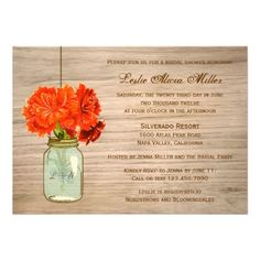 Country Rustic Mason Jar Flowers Bridal Shower Personalized Invites