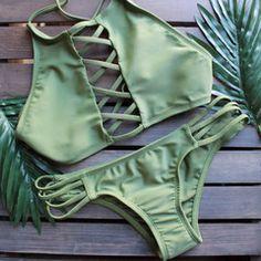 venice high neck crop bikini set in olive green
