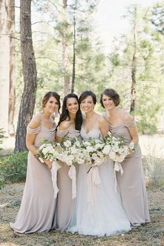 """From the editorial """"When a Wedding Planner Ties the Knot in a Classic Lake Tahoe Affair - Magic Happens!"""" We adore these soft taupe bridesmaid dresses!   LBB Bridesmaids' Dresses: @jennyyoonyc Photography: @lynetteboyle  #bridesmaiddresses #jennyyoo #jennyyoobridesmaiddresses #classicbridesmaiddresses #neutralbridesmaiddresses Neutral Bridesmaid Dresses, Brides And Bridesmaids, Wedding Dresses, Bride Portrait, Wedding Portraits, Bridesmaid Proposal, Lake Tahoe, Dream Wedding, Garden Wedding"""