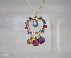 Pink Tourmaline, Labradorite, and Amethyst Goldfilled Necklace by ATELIERGabyMarcos, $85.00