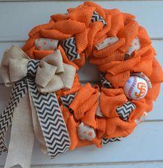 Burlap wreath - baseball wreath - orange wreath - SF Giants on Etsy, $45.00