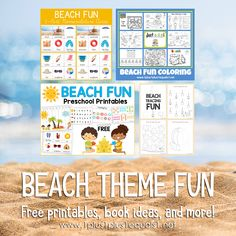 Loads of fun beach theme ideas for kids. Free printables, book recommendations, and ideas! Preschool Printables, Free Printables, Early Learning, Fun Learning, Summer Fun For Kids, Preschool At Home, Tot School, Kindergarten Teachers, Childhood Education