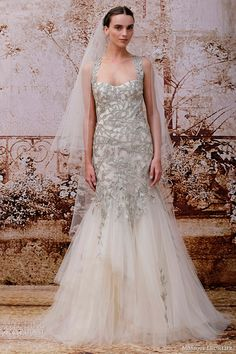 monique lhuillier fall 2014 willow gold embroidered tulle halter trumpet wedding dress