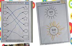 retracer les rayons du soleil et  relier les formes http://nounoudunord.centerblog.net/2902-exercice-retracer-les-rayons-du-soleil?ii=1