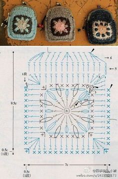 Crochet coin purse with pattern CHART. Crochet Granny Squares with Flowers - Chart ❥ // hf Crochet Purse - Chart ❥ // hf There are no written instructions other than the chart with the photo. Oh my goodness! Cute idea for the girls. Crochet Diy, Crochet Motifs, Crochet Diagram, Crochet Chart, Crochet Squares, Love Crochet, Crochet Gifts, Crochet Patterns, Crochet Bags
