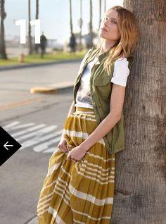 khaki + mustard striped skirt