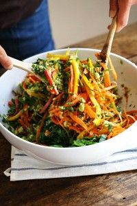 Chopped Thai Salad with Sesame Garlic Dressing - a rainbow of power veggies tossed with a simple made-from-scratch Thai dressing. 390 calories. | pinchofyum.com