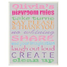 Girl's Playroom Rules Personalized Wall Sign