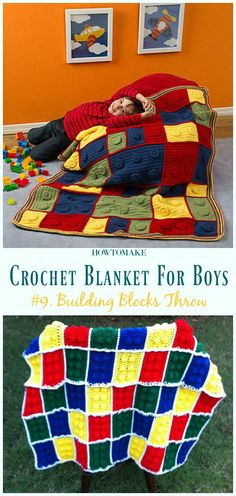 Building Blocks Throw Free Crochet Pattern- Free Patterns For Boys Baby Boy Crochet Blanket, Crochet Blanket Patterns, Crochet Baby, Free Crochet, Crochet Blankets, Plaid Crochet, Crochet Pouch, Crochet Afghans, Crochet Gifts