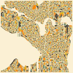 SEATTLE Map Art Print by Jazzberry Blue | Society6