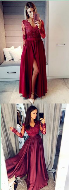 Burgundy Lace Elegant Sexy Custom Made Charming Prom Dress,Prom Dresses #Cocofashion #Promdresses #promdress #prom #dress #fashion #eveningdress
