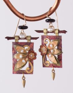 Burgundy Flower Paper Earrings, Earrings, Jewelry, Home - The Museum Shop of The Art Institute of Chicago