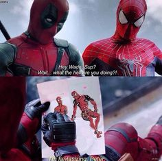 Spideypool   Wade working on his artistic skills but Peter is not impressed