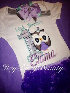 First birthday owl purple headband baby girls by Itzybitzybeauty