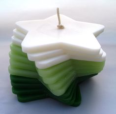 Handmade, Green and White, Eucalyptus and Jasmine Scented, Stacking Candle. on Etsy, £12.00