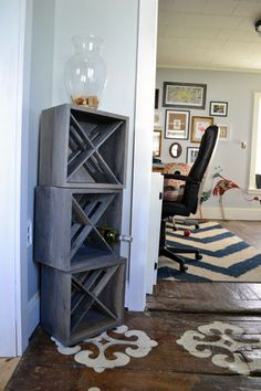 DIY Wine Rack! Love! Def putting it on my list for my dad to make me:)