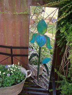 Iris Mosaic garden mirror