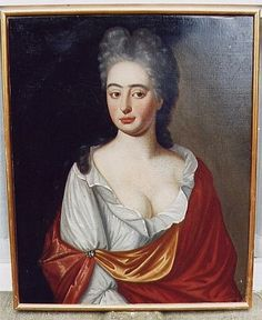 """'PORTRAIT OF A CORNISH LADY' (c.1730): 'This provincial portrait of Cornish gentry has a direct, truthful quality often missing in the work of more sophisticated city followers of Kneller, who achieved a blandly fashionable image devoid of personality. Rather amusingly, she has adopted a facial expression which one can presume she thought was sophisticated ... one eyebrow raised quizzically and a crooked smile. This """"come hither"""" expression, whilst amusing, is also curiously endearing.'…"""