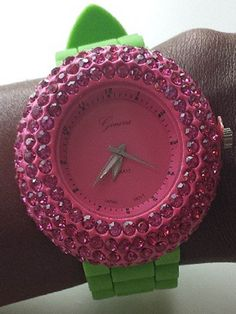 Pink and green watch AKA style AKA 1908 #followprettypearlsinc