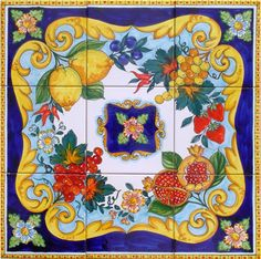 Tile Top Table Autumn Fruit Blue is a hand painted Majolica 60x60 cm, approx. 23.6x23.6 inches. The mural consists of 9 tiles each 20x20 cm, 8x8 inches This Italian Hand Painted Majolica is authentic to the Italian traditions of Vietri. The beauty of the popular Italian fruit has been hand painted into one collage on ceramic tiles that will make your home more unique. Our Ceramic Glazed Tiles are traditionally used to cover walls where they are used in finishing kitchens, bathrooms…